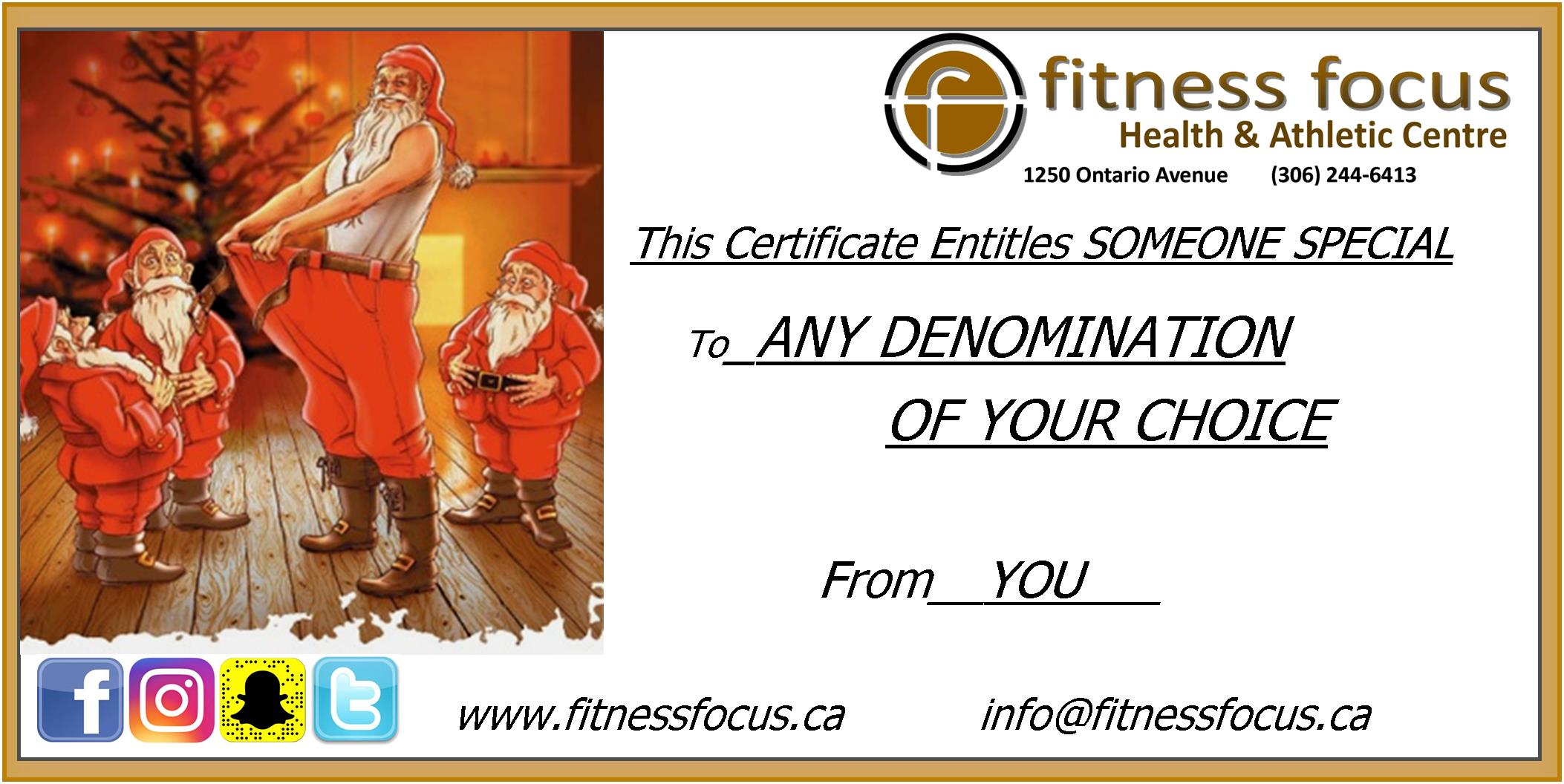 Christmas Gifts in Saskatoon.  Saskatoon Gym Membership Gift Certificates.